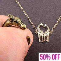 Giraffe Themed Animal Wrap Ring and Necklace Jewelry Set in Brass
