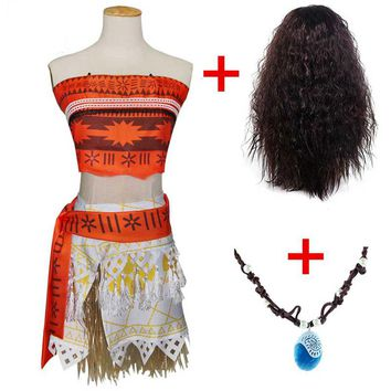Princess Moana Cosplay Costumes for Girl Women Moana Clothes with Necklace Wig for Halloween Party Costumes Kids Adult Gift