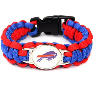 Custom Football Team Paracord Survival Bracelet Buffalo Bills Team Friendship Outdoor Camping Bracelets 10pcs/lot