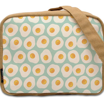 Fried Eggs Pattern Beige-Sand Brown Printed Canvas Casual Crossbody Bag WAS_20
