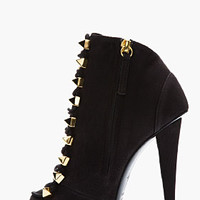 Giuseppe Zanotti Matte Black Leather Gold-studded Alien Boots for women | SSENSE
