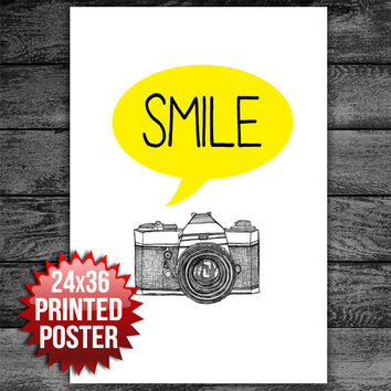 SMILE Motivational Typography Poster Print