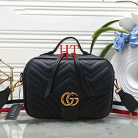 """Gucci"" Fashion All-match Quilted GG Letter Single Shoulder Messenger Bag Women Small Square Bag Handbag"