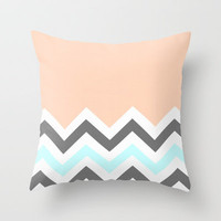 Color Blocked Chevron 11 Throw Pillow by Josrick