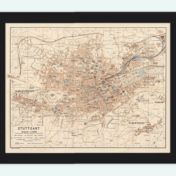 Old Map of Stuttgart, Germany 1910 Vintage map