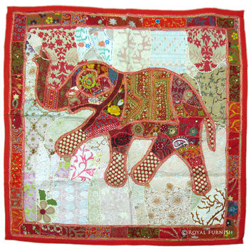 Red Big Size Square Multi patch Indian Elephant Tapestry Wall Hanging