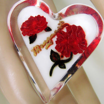 "40s Vintage Clear Lucite Carved Floral Heart Brooch / Monogram ""Margaret"" / Red / White / Jewelry / Jewellery"