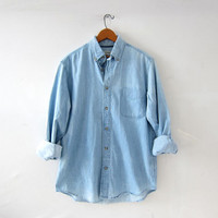 vintage button up jean shirt. washed out denim shirt. light wash denim pocket shirt. button down shirt. boyfriend shirt.