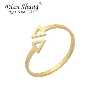 Resizable Double Arrow Ring Minimalism Geometric Triangles Men Jewelry Stainless Steel Aros Punk Anillos Mujer Best Friend Gifts