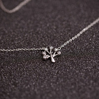 925 sterling silver tree necklace Women's silver necklace for gift