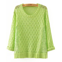 Crochet Knit Sweater with Mesh Accent