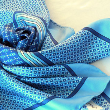 Blue Bayron Silk Scarf, Turquoise and Cobalt Geometric Print, Dots Squares Stripes, Large, Hand Rolled Edge
