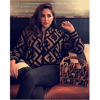 FENDI Autumn And Winter Fashion Women Knit Long Sleeve Zipper Pocket Sweater Jacket Coat Cardigan Coffee