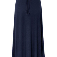 Solid Color Drawstring Waist Bodycon Maxi Skirt