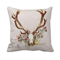 Pillow Cover Floral Deer Antlers Cotton and Burlap Pillow Cover