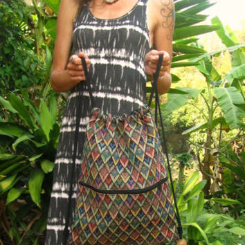 Retro Drawstring Back Pack Ruck Sack Day Bag Beach Bag Surfer Travel Boho Indie | eBay