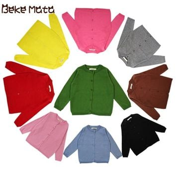 BEKE MATA Baby Cardigan Autumn 2018 Toddler Boy Sweater Long Sleeve Candy Solid Knitted Kids Sweaters For Girls Children Clothes
