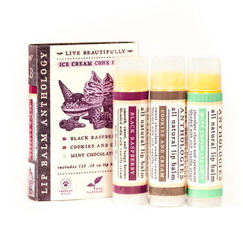 Ice Cream Cones Lip Balm Set - All Natural Collection of 3 Flavors