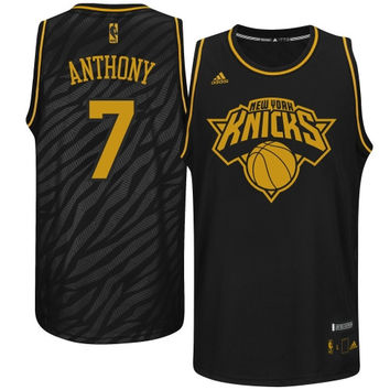 Carmelo Anthony New York Knicks adidas Precious Metals Fashion Swingman Jersey – Black