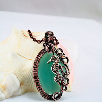 Seahorse Sea Glass Wire Wrapped Pendant Waves of Patina Raw Copper Wire Wrapped Aqua Sea Glass Cabochon with Chain