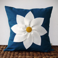 White and Yellow Flower PILLOW COVER in Navy Blue Linen by JillianReneDecor Decorative Home Decor (16x16) Gift for Her (Pre Order for 2013)