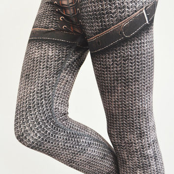 SAMPLE Sale - Jeanne Leggings - OLD Size S - Printed Chainmail and Leather look - fl509
