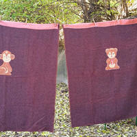 Antique Hand Woven Childrens Blankets with Circus Cartoon Appliques Pair Burgundy Wool Blankets