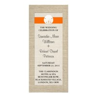Orange Burlap Sand Dollar Beach Wedding Program Custom Rack Cards