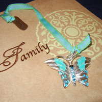 Turquoise Butterfly Pendant Bookmark