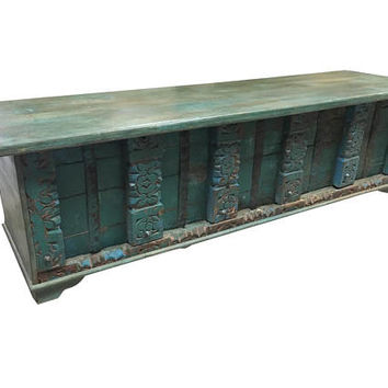 Vintage Trunk Blue Chest Distressed Rustic Old Door Teak Wood Bench Low Console Table Rustic Shabby CHIC Interior  NEW YEAR Sale