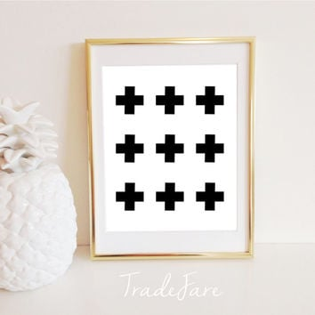 Swiss Crosses Print, Instant Digital Download, Black White, 8x10, Wall Decor, Gallery Wall, Nursery, Cross Geometric