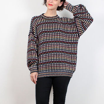 Vintage 90s Sweater Grid Plaid Soft Grunge Oversized Sweater 1990s Sweater Textured Jumper Boyfriend Sweater Cozy Chunky Knit Extra Large XL