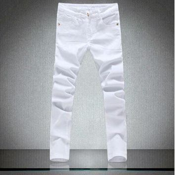 ICIKON3 patchowrk jeans mendesigner skinny white pants elastic denim overall slim fit casualMens clothing