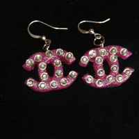 SALE Hot Pink Diamond Glitter CC Resin Earrings, Kawaii , Xmas Stocking Stuffer ,Handmade By: Tranquilityy