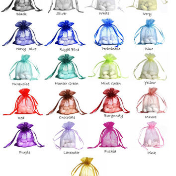 "ORGANZA SELECT COLOR custom list - 4""x 6"" drawstring bag gift favor party bridal red blue green purple white black gold navy periwinkle pink"