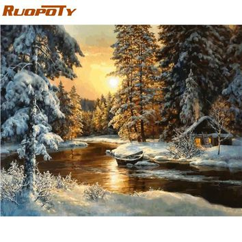 RUOPOTY Frame Picture Sunset Snow DIY Painting By Numbers Landscape Handpainted Oil Painting Modern Wall Art Picture For Home