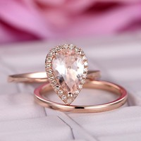 Pear Morganite Engagement Ring Sets Pave Diamond Wedding 14K Rose Gold 6x9mm