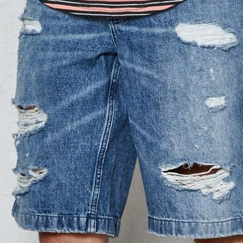 ONETOW PacSun Straight Destroyed Medium Denim Shorts at PacSun.com