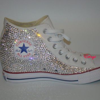 High Top Clear Glitter Rhinestones Converse