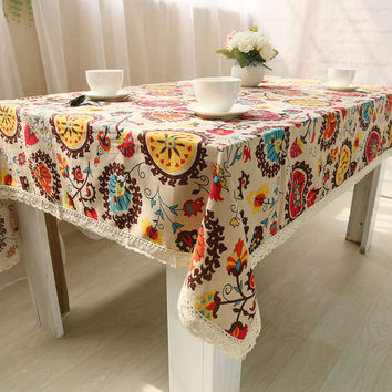 Bohemian National Wind Decorative Table Cloth Cotton Linen Lace Tablecloth Dining Table Cover For Kitchen Home Decor U0997