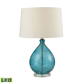 D2692-LED Wayfarer Glass LED Table Lamp in Teal - Free Shipping!