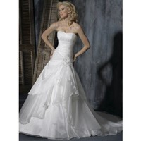 A-line Sleeveless Organza Floor-length bridal gown style 0bg00798