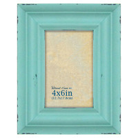 4 X 6-in Distressed Aqua Blue Tabletop Frame