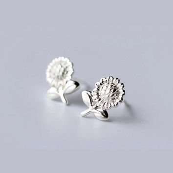 Silver Sunflower stud earrings, handmade tiny 925 sterling silver sun flower original design, mini cute studs, unique silver jewelry