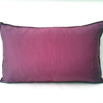 Small  Throw Pillow in Taffeta, Silk  in Magenta Pink, Backrest Cushion, Modern Home Decor