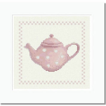 Pink Teapot with Polka Dots - PDF Cross Stitch Pattern - INSTANT DOWNLOAD