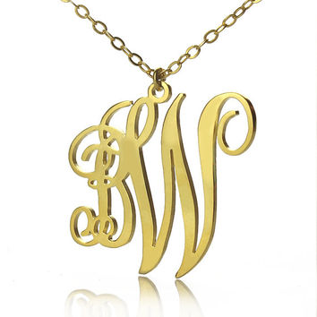 Customized 2 initials Monogram Name Necklace 18k Gold Plated 2 letters Small-Large Monogrammed Nameplate Pendant Letter Monogram Jewelry