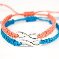 Infinity Friendship or Couples Bracelets Coral and Blue