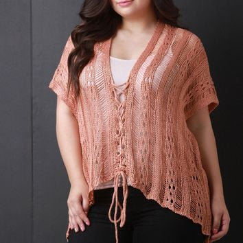 Shredded Sweater Knit Lace-Up Poncho