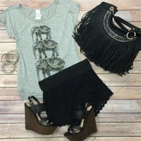 Studded Elephant Tee: Grey